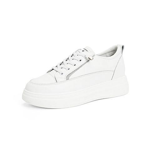森達2021秋季新款商場同款韓版休閑厚底女小白鞋3QW01CM1