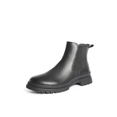 森達2021冬季新款簡約時尚平跟休閑圓頭女切爾西短靴Z0502DD1