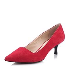 STACCATO/思加图春季专柜同款女士红色羊绒面皮女皮鞋9OB09AQ4
