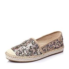STACCATO/思加图春季专柜同款粉金亮片布女渔夫鞋皮鞋9UA01AM5