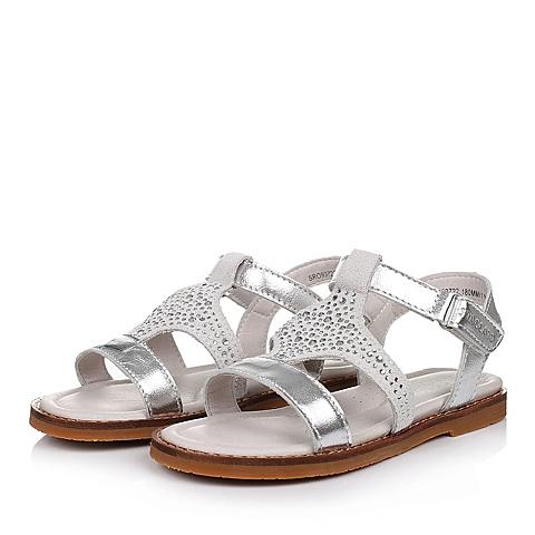 STACCATO/思加图童鞋2015夏季专柜同款羊皮银色女小童凉鞋93722