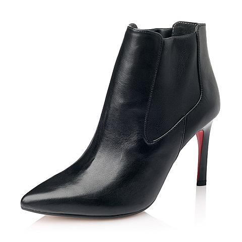 STACCATO/思加图秋季专柜同款黑色牛皮女短靴(皮里)9XI03CD5