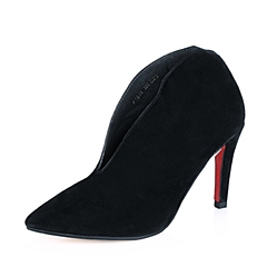 STACCATO/思加图年秋专柜同款黑羊绒皮女鞋9VZ03CM5