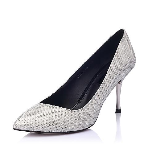 STACCATO/思加图春季专柜同款银色亮片布浅口女单鞋EY268AQ5