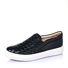 STACCATO/思加图秋季专柜同款黑色小牛皮女单鞋(编织)9UI24CM5