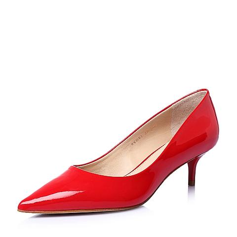 STACCATO/思加图春季专柜同款红色胎牛皮简约时尚细跟浅口女单鞋9YD01AQ6
