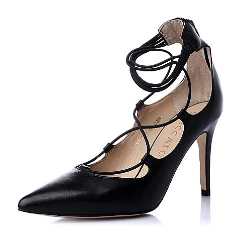 STACCATO/思加图春季专柜同款黑色胎牛皮优雅高跟浅口女单鞋P9VZ0AQ6