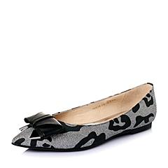 STACCATO/思加图春季专柜同款银黑亮片布秀气小尖头女单鞋P9UG1AQ6