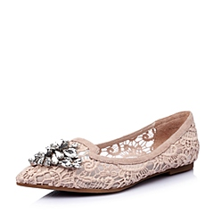 STACCATO/思加图春季专柜同款杏粉/粉杏绣花网布女单鞋9UG16AQ6