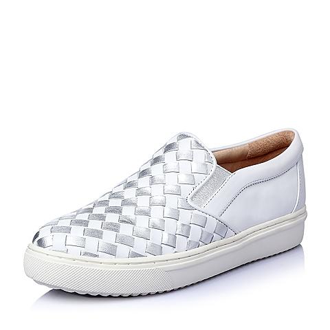 STACCATO/思加图春季专柜同款白/银牛皮女单鞋(编织)9UI27AM6
