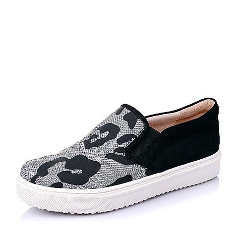 STACCATO/思加图春季专柜同款银黑/黑亮片布女单鞋9UI25AM6