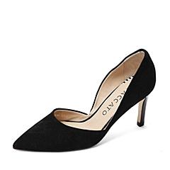 STACCATO/思加图春季专柜同款黑羊绒皮女皮凉鞋9UE20AK6