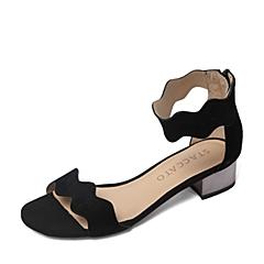 STACCATO/思加图夏季专柜同款黑色羊皮女凉鞋9US04BL6