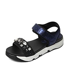 STACCATO/思加图夏季专柜同款宝蓝摔纹金属牛皮女皮凉鞋F6101BL6