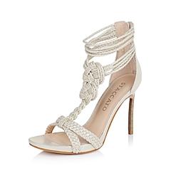 STACCATO/思加图夏季专柜同款浅金色布女凉鞋9JM01BL6
