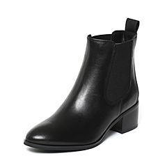 STACCATO/思加图冬季专柜同款黑色牛皮女靴9XY07DD6