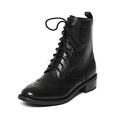 STACCATO/思加图冬季专柜同款黑色牛皮单里女皮靴9RA68DD6