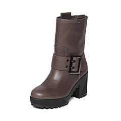 STACCATO/思加图冬季专柜同款深灰色牛皮女靴9D103DZ6