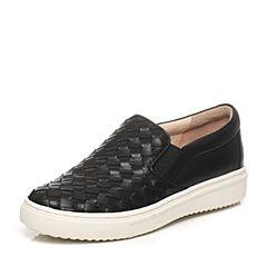 STACCATO/思加图春季专柜同款黑色牛皮女单鞋(编织)P9UI2AM6