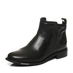 STACCATO/思加图冬季专柜同款黑色打蜡胎牛皮短筒女皮靴9RA60DD6