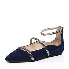 STACCATO/思加图2017春季专柜同款深兰/银灰色羊皮女单鞋9E302AQ7