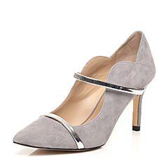 STACCATO/思加图春季专柜同款灰/银色羊绒皮女单鞋9UE34AQ7