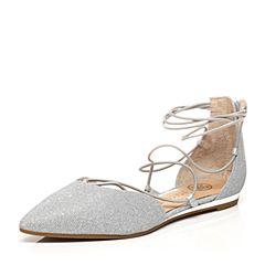 STACCATO/思加图2017春季专柜同款银白色亮线布女凉鞋9E501AK7