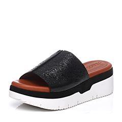 STACCATO/思加图夏季专柜同款山羊皮女凉拖鞋9F303BT7