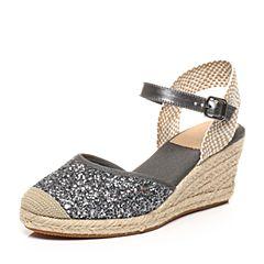 STACCATO/思加图夏季专柜同款亮片布面拼接女皮凉鞋9F901BL7