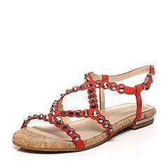STACCATO/思加图夏季专柜同款牛皮时尚铆钉纯色女凉鞋9JH10BL7