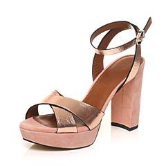 STACCATO/思加图夏季专柜同款牛皮革粗跟女皮凉鞋9JU04BL7