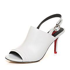 STACCATO/思加图夏季专柜同款白色山羊皮革女皮凉鞋9VN13BL7