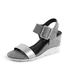 STACCATO/思加图夏季专柜同款灰色真皮女凉鞋K3101BL7