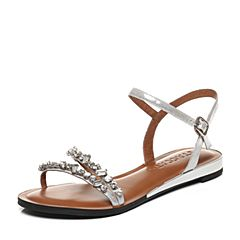 STACCATO/思加图夏季专柜同款银色贴膜布面女凉鞋9G803BL7