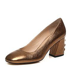 STACCATO/思加图秋季专柜同款金色牛皮女皮浅口鞋9I104CQ7