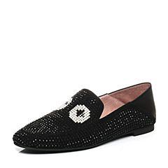 STACCATO/思加图秋季专柜同款黑色羊皮休闲女皮鞋9D911CM7