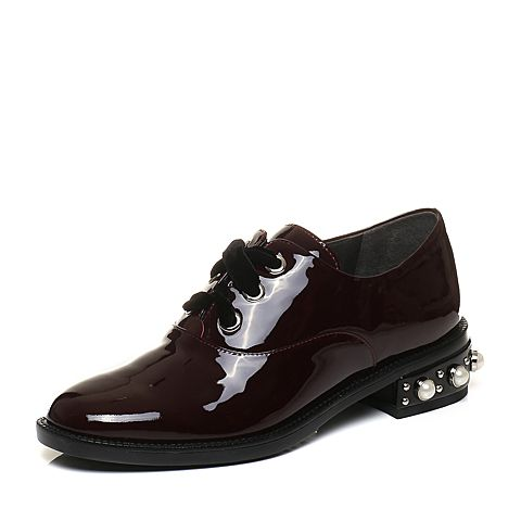 STACCATO/思加图秋季专柜同款酒红色漆牛皮休闲女皮鞋9RA89CM7