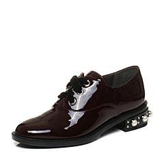 STACCATO/思加图2017年秋季专柜同款酒红色漆皮胎牛皮休闲女皮鞋9RA89CM7
