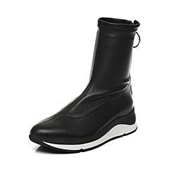 STACCATO/思加图2017年秋季专柜同款绵羊皮女皮中靴9H802DZ7