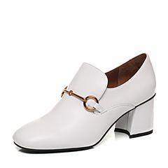 STACCATO/思加图秋季白色软牛皮粗跟女皮鞋9H505CM7