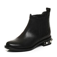 STACCATO/思加图2017年冬季黑色打蜡胎牛皮短筒女皮靴9RA99DD7
