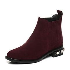 STACCATO/思加图2017年冬季紫色羊绒皮短筒女皮靴9RA99DD7