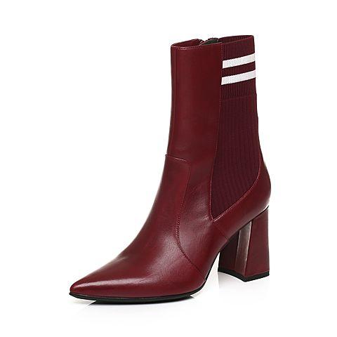 STACCATO/思加图冬季专柜同款红色牛皮尖头短筒女皮靴9J411DZ7