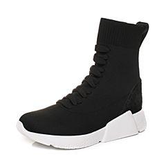 STACCATO/思加图2017年冬季专柜同款黑色编织休闲女短靴9H815DD7