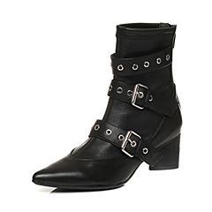 STACCATO/思加图2017年冬季专柜同款黑色牛皮尖头女皮靴9J104DD7