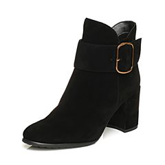 STACCATO/思加图冬季专柜同款黑色羊绒皮短筒女皮靴9SA27DD7