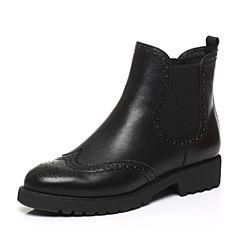STACCATO/思加图2017冬季专柜同款黑色牛皮短筒女皮靴MM001DD7