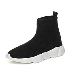 STACCATO/思加图冬季专柜同款黑色编织帮面女袜靴S4201DD7