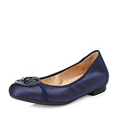 STACCATO/思加图2018年春季专柜同款深蓝色真丝布面浅口女单鞋9HY63AQ8