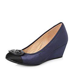 STACCATO/思加图2018年春季专柜同款深蓝色布面浅口女单鞋ER963AQ8